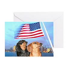 USA Dachshunds Greeting Card