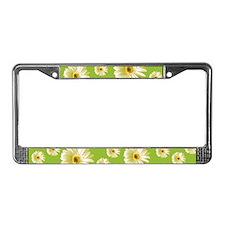 Pop Art White Daisy License Plate Frame
