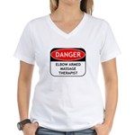 Elbow Armed Massage Therapist Women's V-Neck T-Shi
