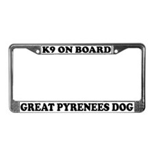 K9 On Board Great Pyrenees License Plate Frame