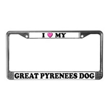 I Heart My Great Pyrenees License Plate Frame