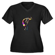 One Kokopelli #86 Women's Plus Size V-Neck Dark T-