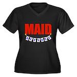 Retired Maid Women's Plus Size V-Neck Dark T-Shirt