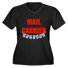 Retired Mail Carrier Women's Plus Size V-Neck Dark