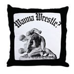 Wanna Wrestle Throw Pillow
