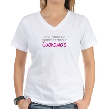 what happens at grandma's Women's V-Neck T-Shirt
