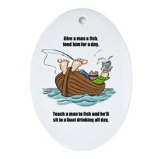 Give a Man a Fish Oval Ornament