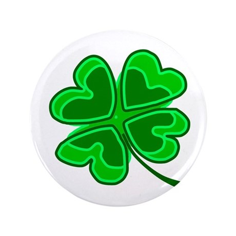 Lucky Four Leaf Clover 3.5&quot; Button
