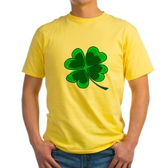 Lucky Four Leaf Clover Yellow T-Shirt