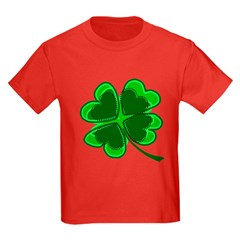 Lucky Four Leaf Clover Kids Dark T-Shirt