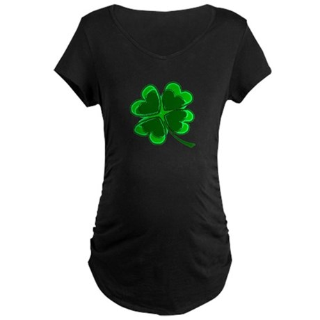 Lucky Four Leaf Clover Maternity Dark T-Shirt