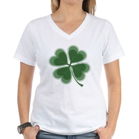 Lucky Four Leaf Clover Women's V-Neck T-Shirt