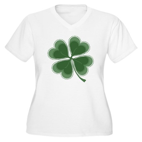 Lucky Four Leaf Clover Women's Plus Size V-Neck T-