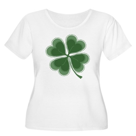Lucky Four Leaf Clover Women's Plus Size Scoop Nec