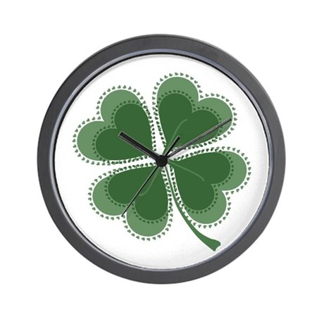 Lucky Four Leaf Clover Wall Clock