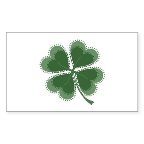 Lucky Four Leaf Clover Rectangle Sticker