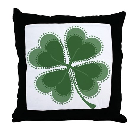 Lucky Four Leaf Clover Throw Pillow