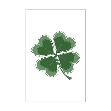 Lucky Four Leaf Clover Mini Poster Print