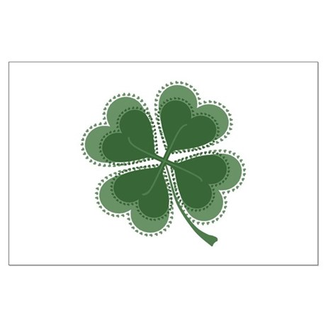 Lucky Four Leaf Clover Large Poster