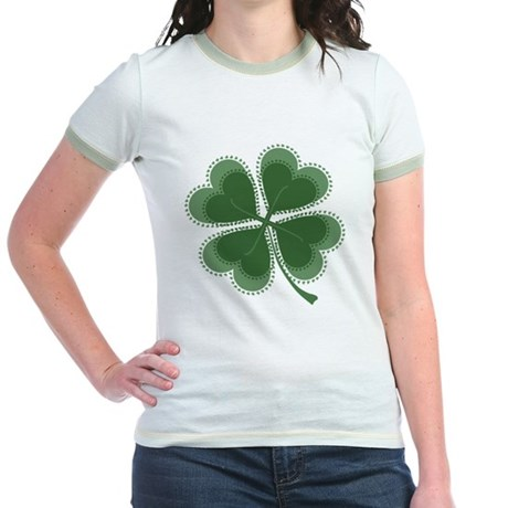 Lucky Four Leaf Clover Jr. Ringer T-Shirt