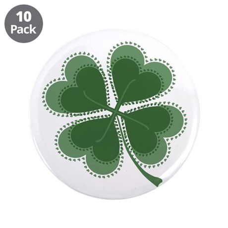 "Lucky Four Leaf Clover 3.5"" Button (10 pack)"