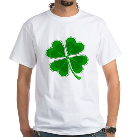 Lucky Four Leaf Clover White T-Shirt