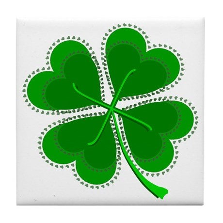 Lucky Four Leaf Clover Tile Coaster