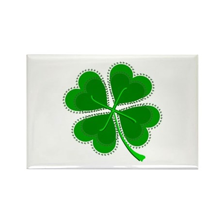 Lucky Four Leaf Clover Rectangle Magnet (10 pack)