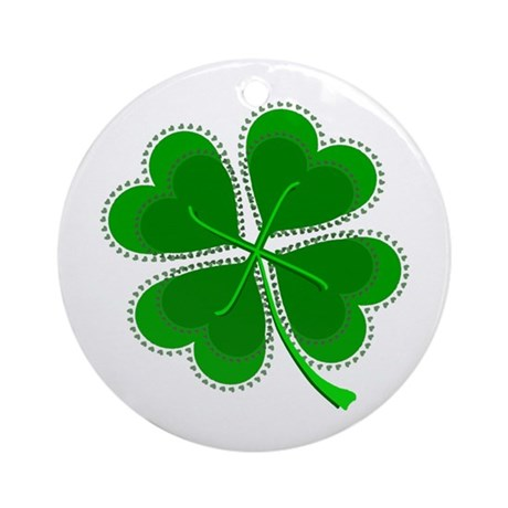 Lucky Four Leaf Clover Ornament (Round)