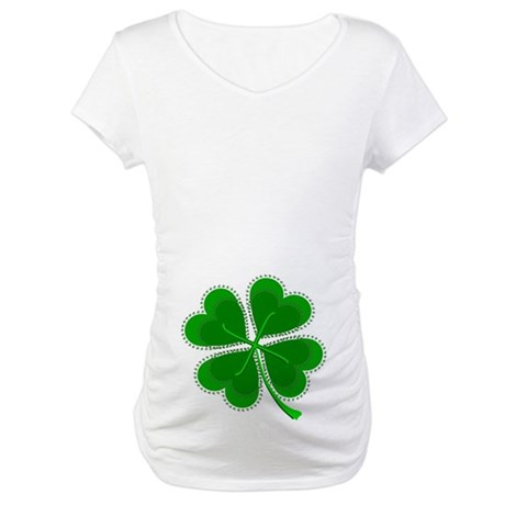 Lucky Four Leaf Clover Maternity T-Shirt