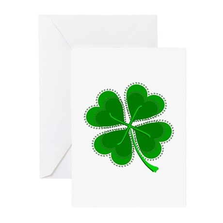 Lucky Four Leaf Clover Greeting Cards (Pk of 10)