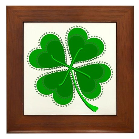 Lucky Four Leaf Clover Framed Tile