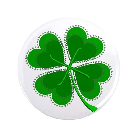 "Lucky Four Leaf Clover 3.5"" Button"