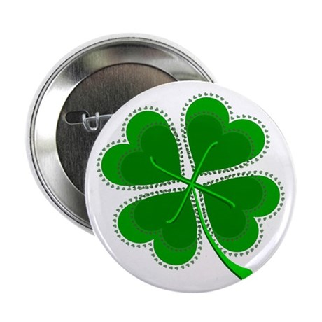 "Lucky Four Leaf Clover 2.25"" Button"