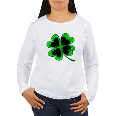 Lucky Four Leaf Clover Women's Long Sleeve T-Shirt