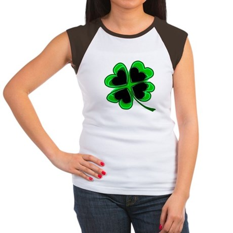 Lucky Four Leaf Clover Women's Cap Sleeve T-Shirt