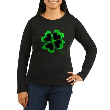 Lucky Four Leaf Clover Women's Long Sleeve Dark T-