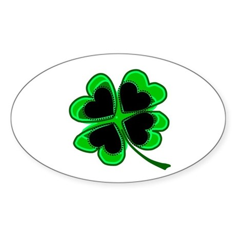 Lucky Four Leaf Clover Oval Sticker