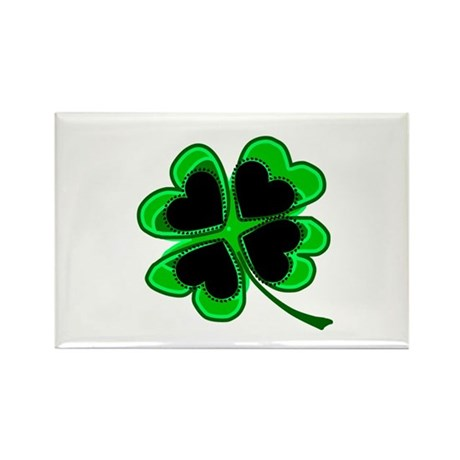 Lucky Four Leaf Clover Rectangle Magnet (100 pack)