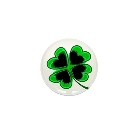 Lucky Four Leaf Clover Mini Button