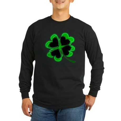 Lucky Four Leaf Clover Long Sleeve Dark T-Shirt