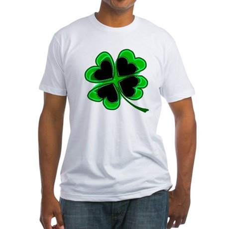 Lucky Four Leaf Clover Fitted T-Shirt