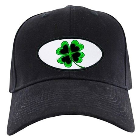 Lucky Four Leaf Clover Black Cap