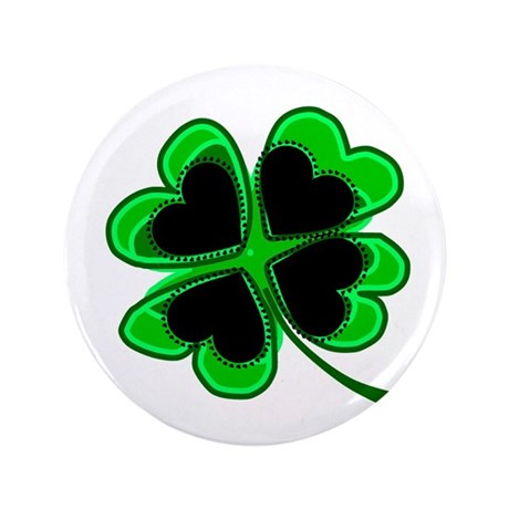 "Lucky Four Leaf Clover 3.5"" Button (100 pack)"
