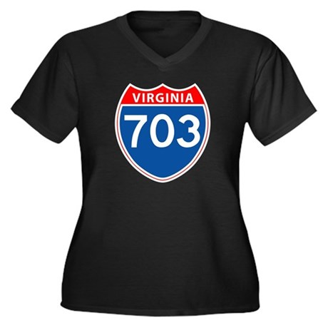 Area Code 703 Women's Plus Size V-Neck Dark T-Shir