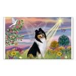 Cloud Angel / Collie Rectangle Sticker