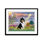 Cloud Angel / Collie Framed Panel Print