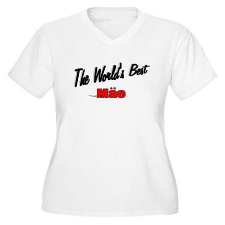"""The World's Best Mae"" Women's Plus Size V-Neck T-"