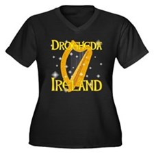 Drogheda Ireland Women's Plus Size V-Neck Dark T-S