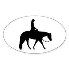 Western silhouette female Oval Decal